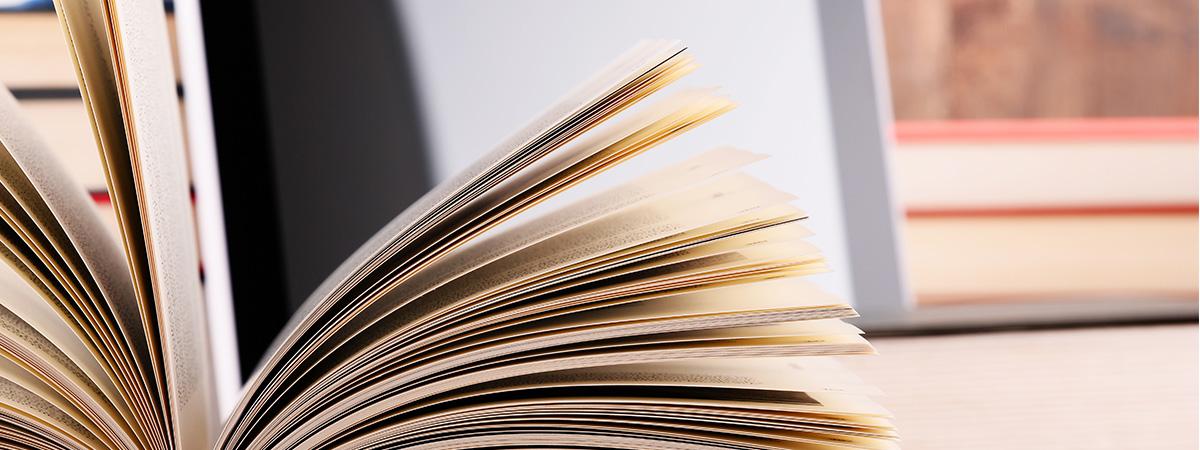 aufgeklapptes Buch von der Seite